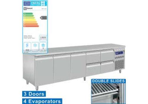 Diamond RVS koelwerkbank Met Spatrand | 3 Deuren en 4 lades