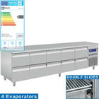 Diamond Stainless steel Refrigerated Workbench With Splash Edge | Drawers 10 - 253 x 70 x 85/90 cm