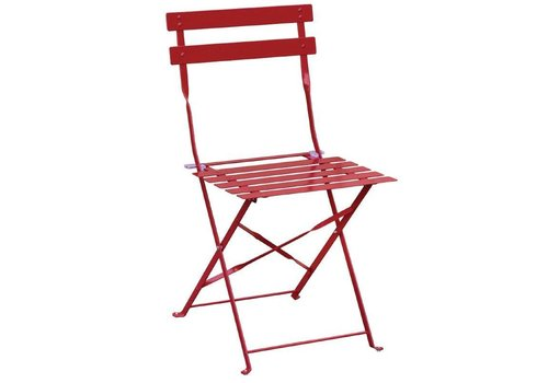 Bolero Steel Bistro Chairs Red 2 pieces