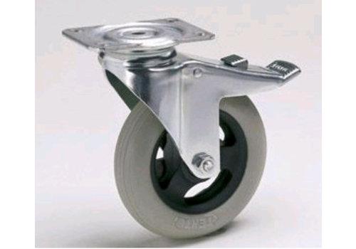 HorecaTraders Rollen mit Luftreifen und Brems Ø 125 mm