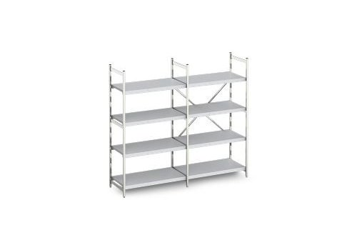 Hupfer Aluminum shelf with tight shelves 60 cm deep | 10 formats