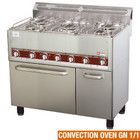 Diamond Gas cooker 5 burners on convection oven 4x GN 1/1