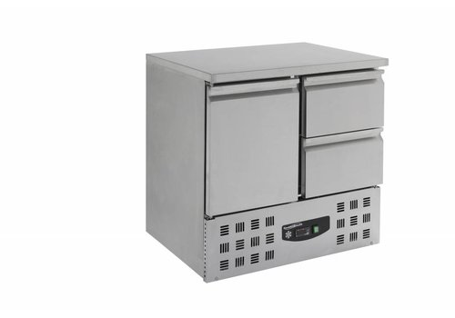 Combisteel Refrigerated stainless steel workbench 1 door 2 drawers | 90 x 70 x 87 cm