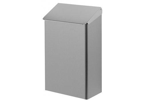 HorecaTraders Abfallbehälter mit Deckel-Vorderwand 7-Liter-Edelstahl | vandalensicher