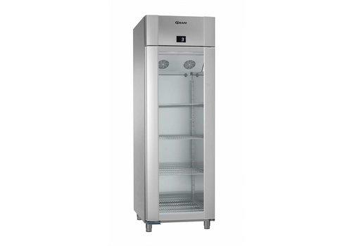 Gram RVS/Aluminium koelkast met enkele glazen deur | 2/1 GN | 610 Liter