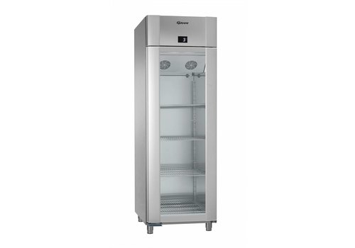 Gram Vario silver / stainless steel refrigerator with single glass door | 2/1 GN | 610 Liter