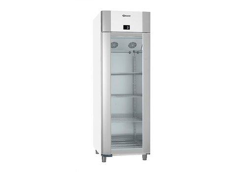 Gram Weiß- / Aluminiumkühlschrank mit einzelner Glastür 2/1 GN   610 Liter