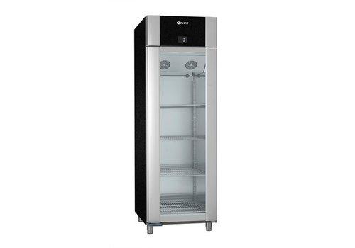 Gram Aluminium koelkast zwart met glazen deur | 2/1 GN | 610 liter
