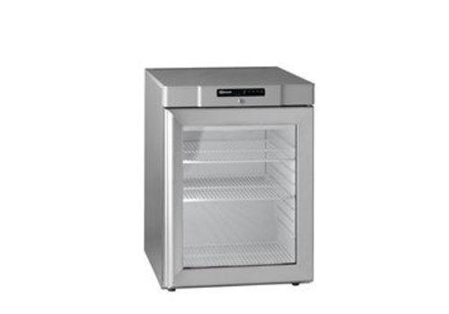 Gram Edelstahl Unterbau Kühlschrank mit Glastür   125 Liter