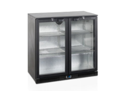 Tefcold Tefcold zwarte Backbar-koeler met 2 glazen deuren