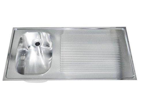 HorecaTraders Sink table top stainless steel | 100x50 cm sink left