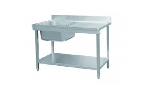 HorecaTraders Sink table stainless steel | 120x70x85 cm