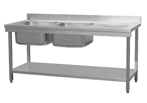 HorecaTraders Spoeltafel RVS Met Spoelbak Links | 180 x70 x 90 cm