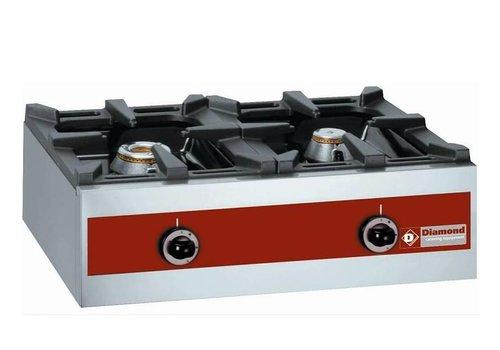 Diamond Gas burner 2 Burners Table model 5.5KW + 3.2KW | 720x480x (h) 260mm
