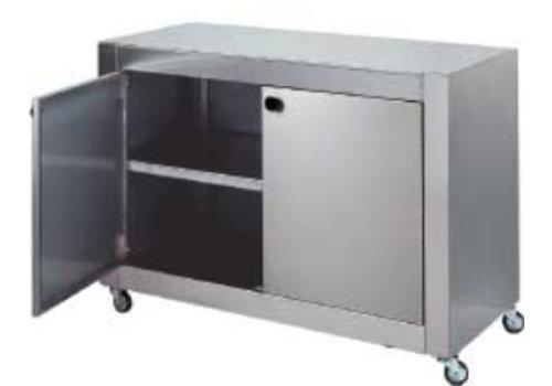 HorecaTraders Edelstahlgehäuse mit zwei Türen und Räder