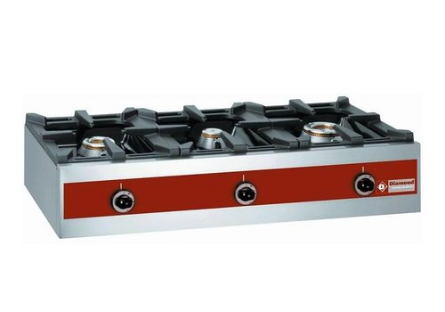 Diamond Gas burner 3 Burners Table model 7.2 + 5.5 + 3.2 Kw 1000x480x (h) 260mm
