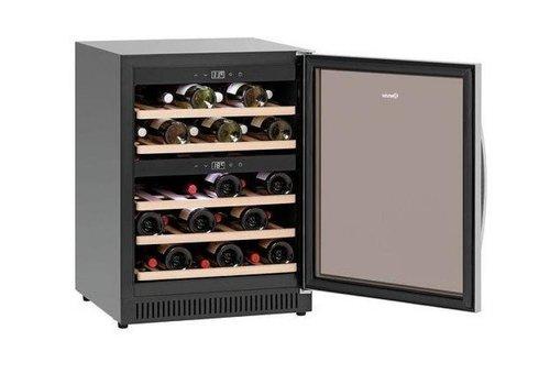 Bartscher Wein Kühlschrank Schwarz | Silent-Modell | 2 Temperaturzonen | 590x575x825 (h) mm