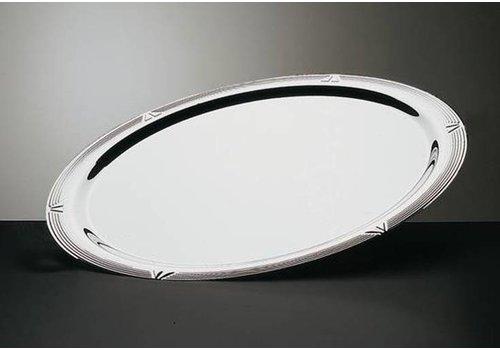 HorecaTraders Ovale Servierplatte aus Edelstahl