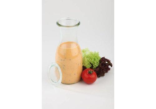 HorecaTraders Weck Glasflaschen mit Deckel 1L | 6 Stück