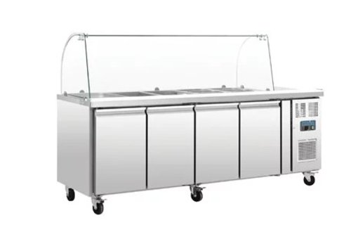 Polar GN Refrigerated Saladette | Including Glass Mount Display Case 4-door