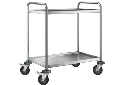 Blanco Stainless steel serving trolley 2 plateaus 90x60x95 cm