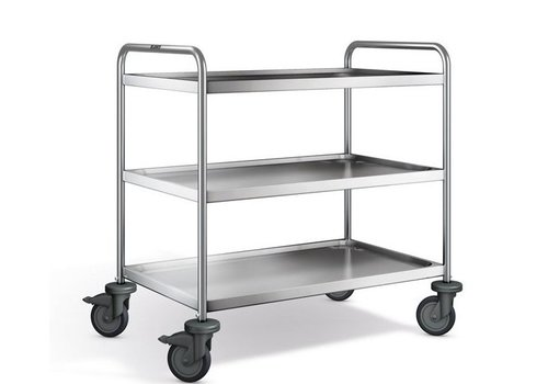 Blanco Stainless steel serving trolley 3 plateaus 100x65x95 cm