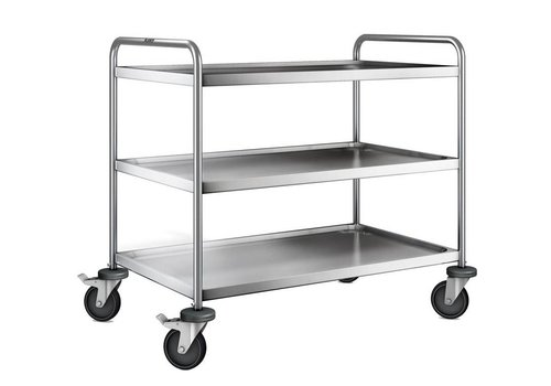 Blanco Stainless steel serving trolley 3 plateaus 110x70x95 cm