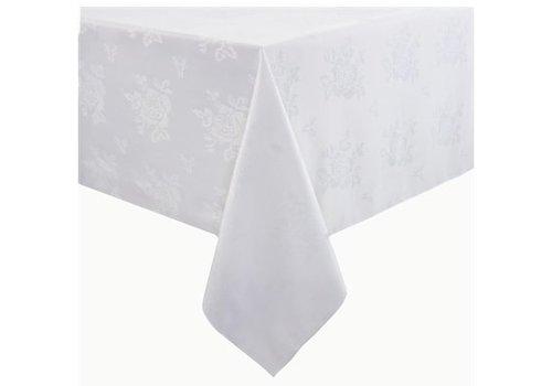 HorecaTraders Polyester Tafelkleed   Roosmotief   Wit