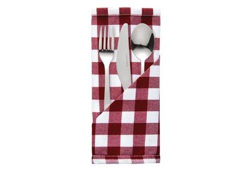 HorecaTraders Serviette Rot-Weiß | Komfort | 46 x 46 cm