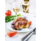 Poussin désossé farci fine champagne, foie gras