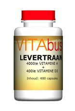 Levertraan vitamine A + D3 400 capsules