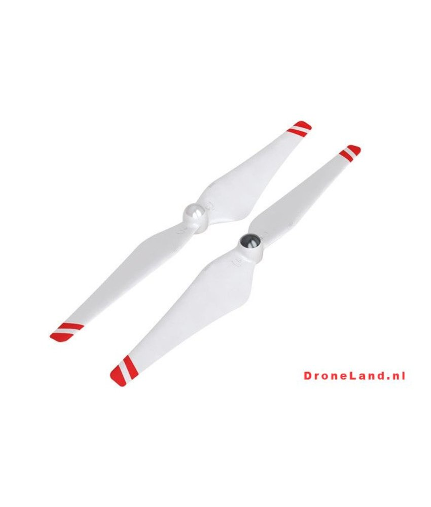DJI 9 Inch Self Tightening Props White With Red Stripes