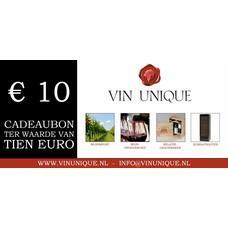 Wijncadeaubon ter waarde van € 10,00