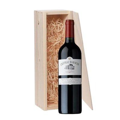 1-fles wijnkist met Château Baracan - Côtes de Bordeaux, Frankrijk