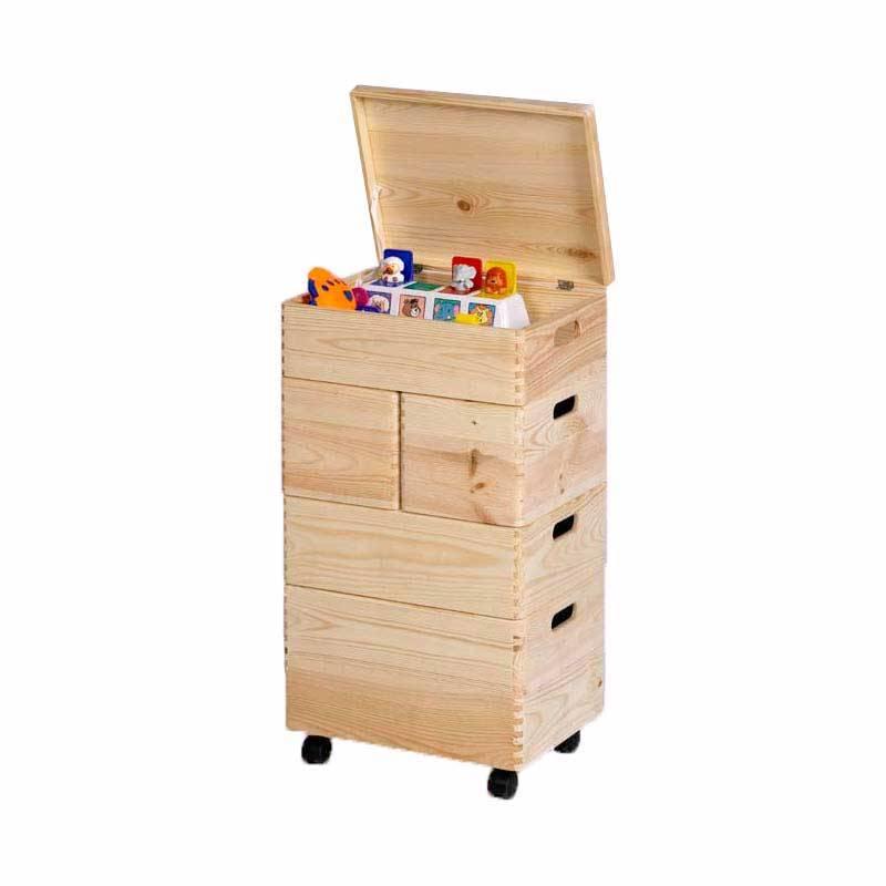 5 houten opbergkisten opbergspecialist - Houten doos op wielen ...