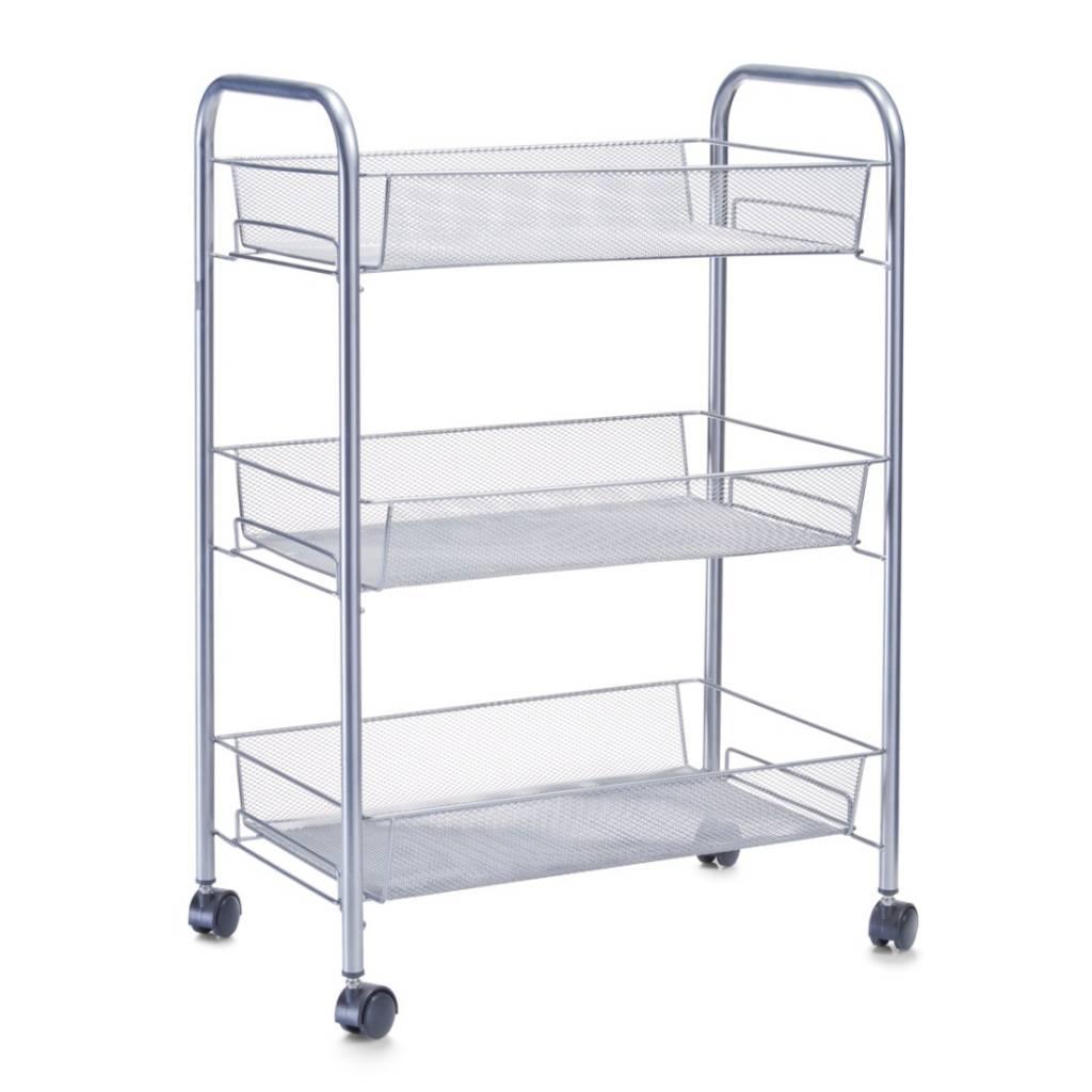 trolley met 3 gaasmanden grijs opbergspecialist. Black Bedroom Furniture Sets. Home Design Ideas