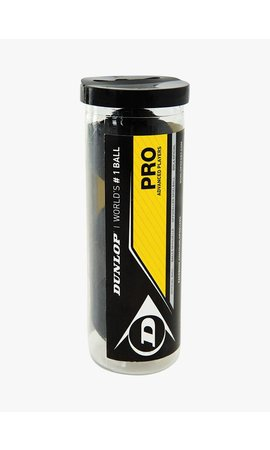 Dunlop Pro Squash Ball (double yellow dot) - Tube of 3
