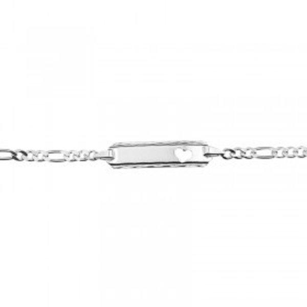 zilveren plaat armband met hartje