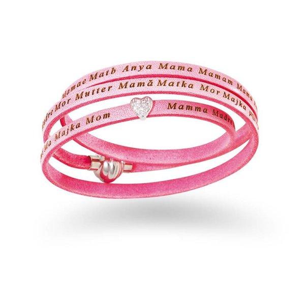 Mama armband roze leer