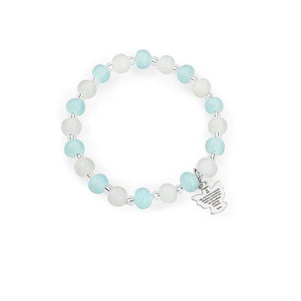 murano engel armband blauw & wit