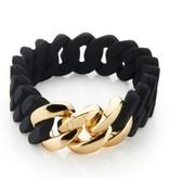 The Rubz The Rubz armband Black & Gold 15 mm
