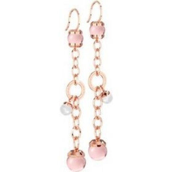 Hollywood stone Earring Pink hydroterm stone-white pearl