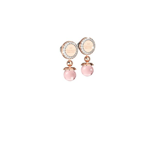 Boulevard stone Earring Pink hydrotermal stone-white crystals