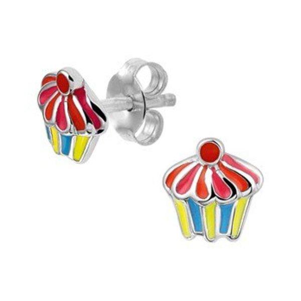 Zilveren cupcake oorknoppen