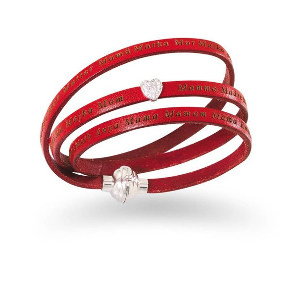 Amen mama bracelet leather red