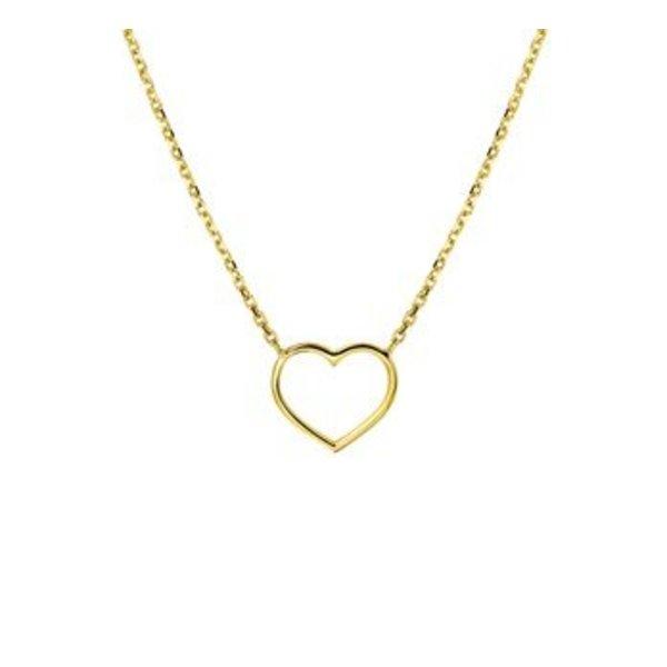 Geelgouden collier met open hart