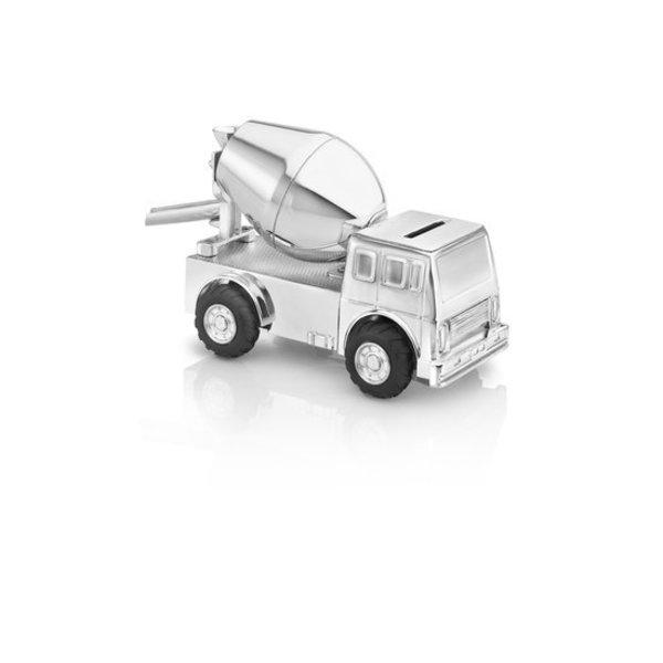 Verzilverde spaarpot Cementwagen