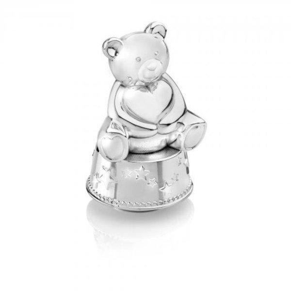 Verzilverde spaarpot beer met muziek