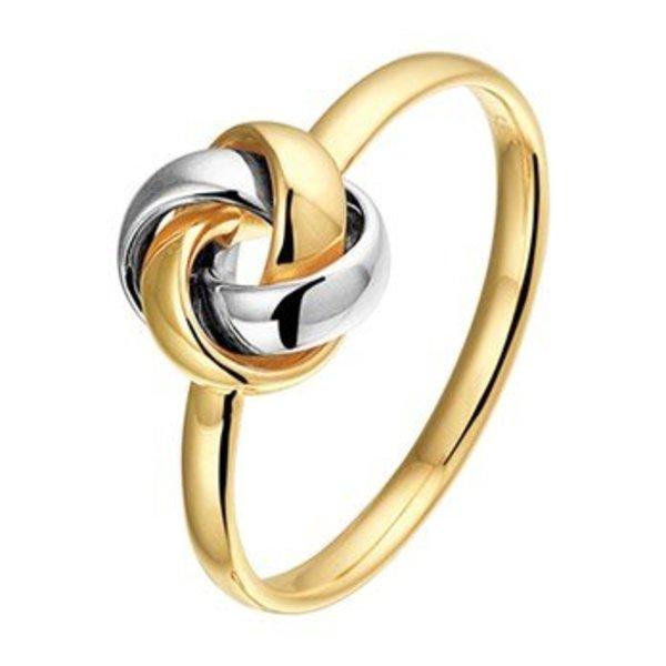 Bicolor gouden ring knoop