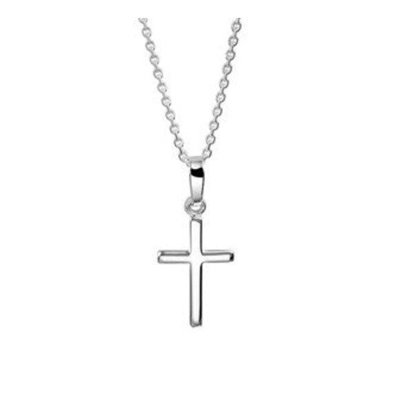 Zilveren collier kruis